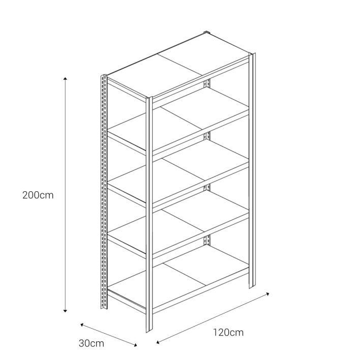Bezšroubové kovové regály 200x120x30cm T profil, 5 polic, 250kg na polici