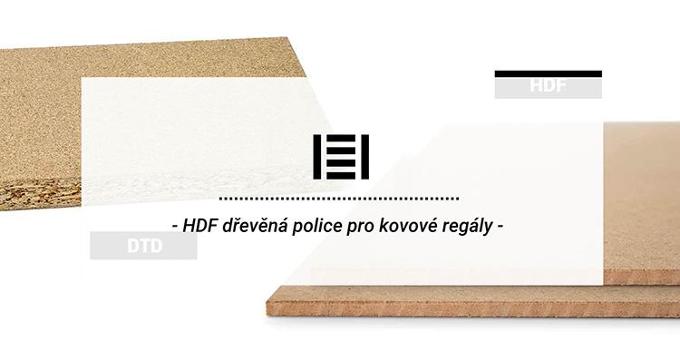 HDF dřevěná police pro kovové regály